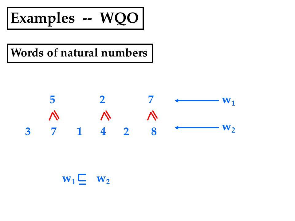 Examples -- WQO Words of natural numbers 3 7 1 4 2 8 5 2 7w1w1 w2w2 w1w1 w2w2