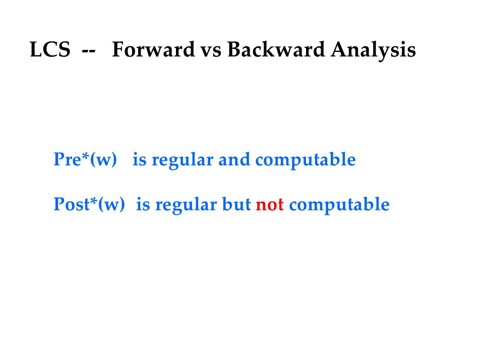 LCS -- Forward vs Backward Analysis Pre*(w) is regular and computable Post*(w) is regular but not computable