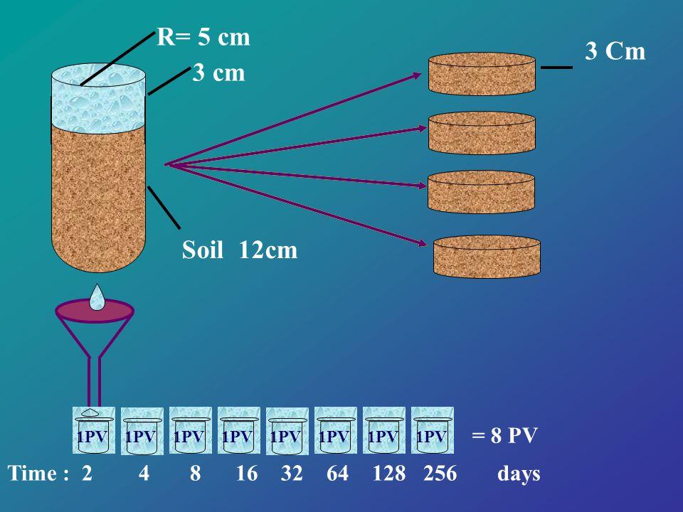 Soil 12cm 3 cm 3 Cm 1PV Time : 2 4 8 16 32 64 128 256 days 1PV = 8 PV R= 5 cm