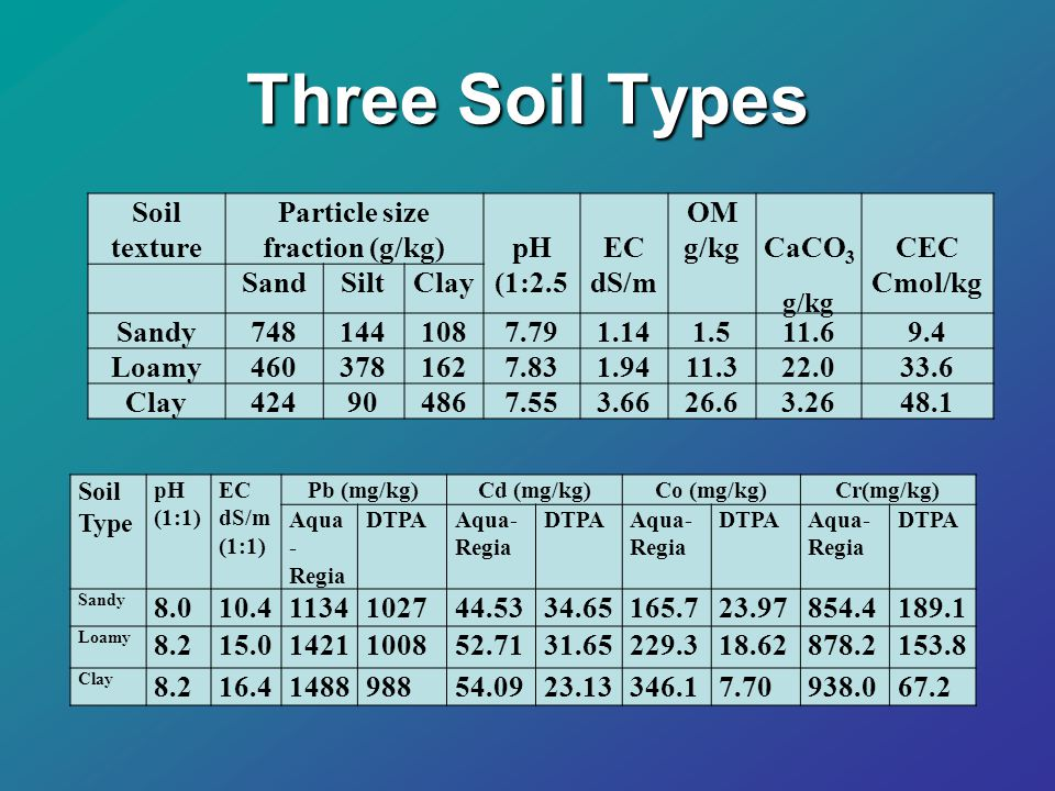 Soil 12cm 3 cm 3 Cm Total pore volumes = 8 PV R= 5 cm At the end of leaching, soil column was sectioned every 3 cm and DTPA extracted metal was measured