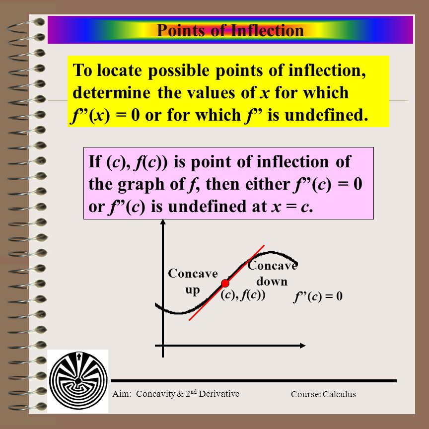 Aim: Concavity & 2 nd Derivative Course: Calculus Points of Inflection To locate possible points of inflection, determine the values of x for which f''(x) = 0 or for which f'' is undefined.