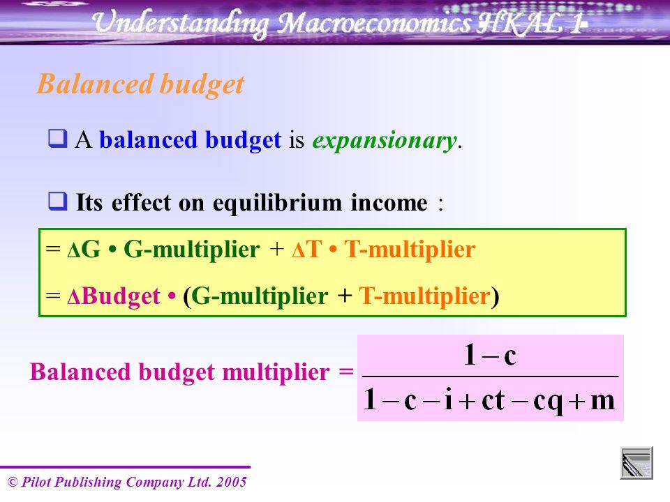 © Pilot Publishing Company Ltd. 2005 Balanced budget  A balanced budget is expansionary. Balanced budget multiplier =  Its effect on equilibrium inc