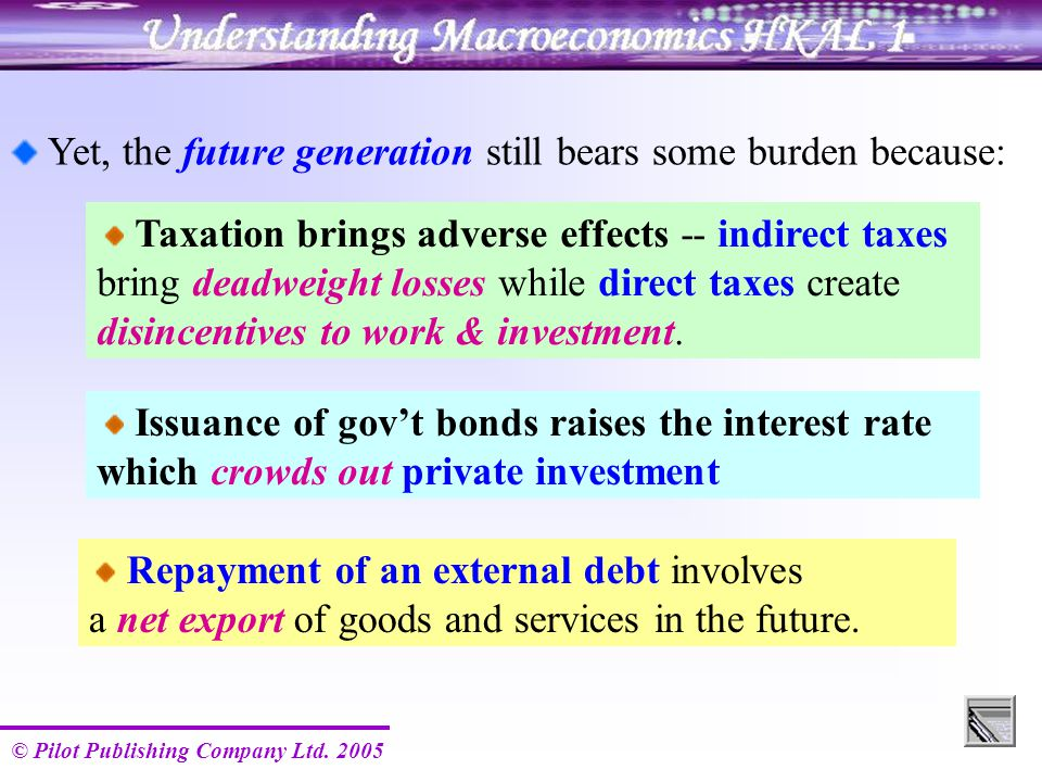 © Pilot Publishing Company Ltd. 2005 Yet, the future generation still bears some burden because: Taxation brings adverse effects -- indirect taxes bri