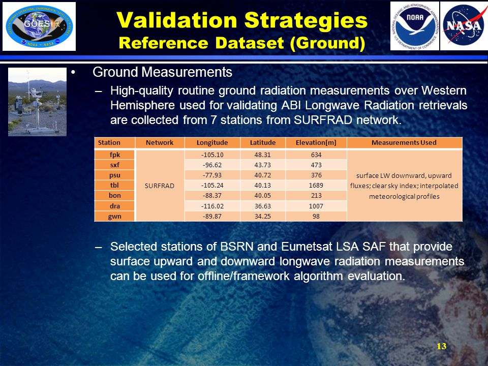 Validation Strategies Reference Dataset (Ground) Ground Measurements –High-quality routine ground radiation measurements over Western Hemisphere used