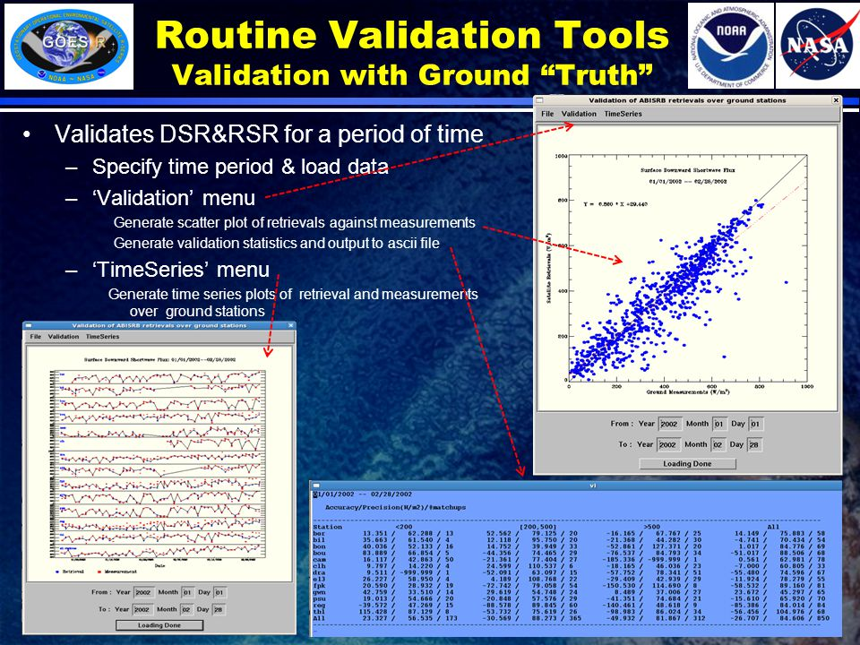 Routine Validation Tools Validation with Ground Truth Validates DSR&RSR for a period of time –Specify time period & load data –'Validation' menu Generate scatter plot of retrievals against measurements Generate validation statistics and output to ascii file –'TimeSeries' menu Generate time series plots of retrieval and measurements over ground stations 7