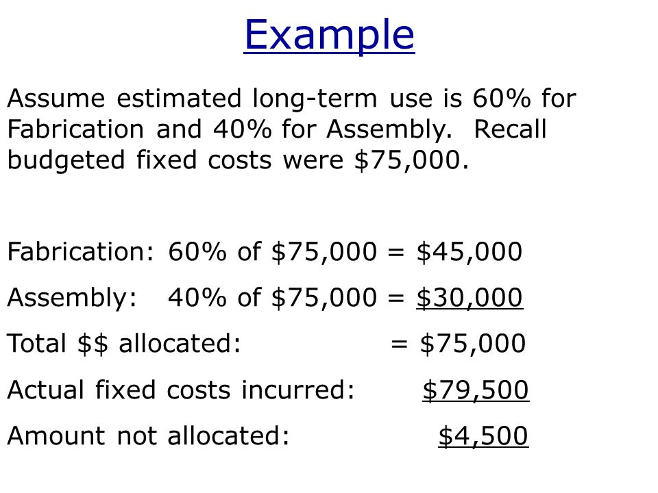 Example Assume estimated long-term use is 60% for Fabrication and 40% for Assembly.