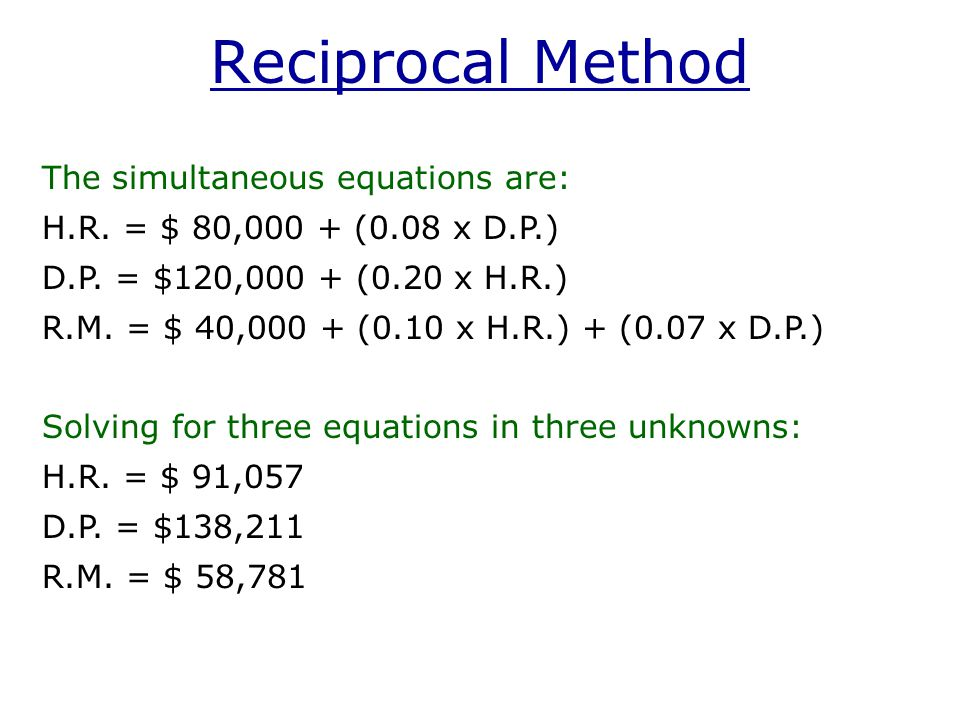 Reciprocal Method The simultaneous equations are: H.R.