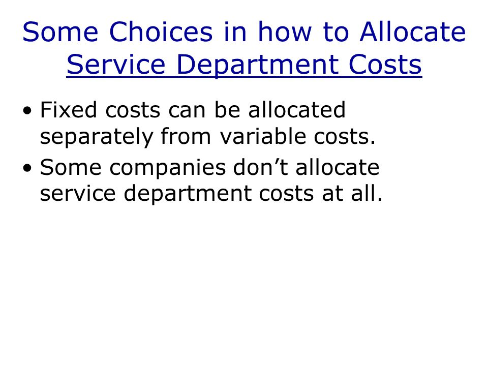 Reciprocal Method The reciprocal method is the most accurate method for allocating service department costs.