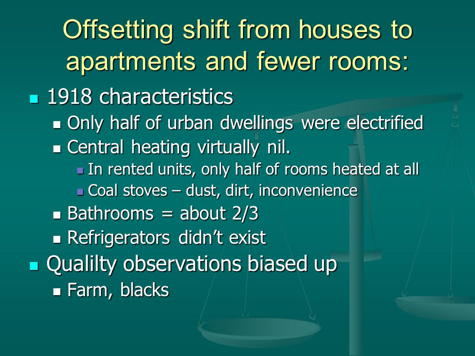 Offsetting shift from houses to apartments and fewer rooms: 1918 characteristics 1918 characteristics Only half of urban dwellings were electrified Only half of urban dwellings were electrified Central heating virtually nil.