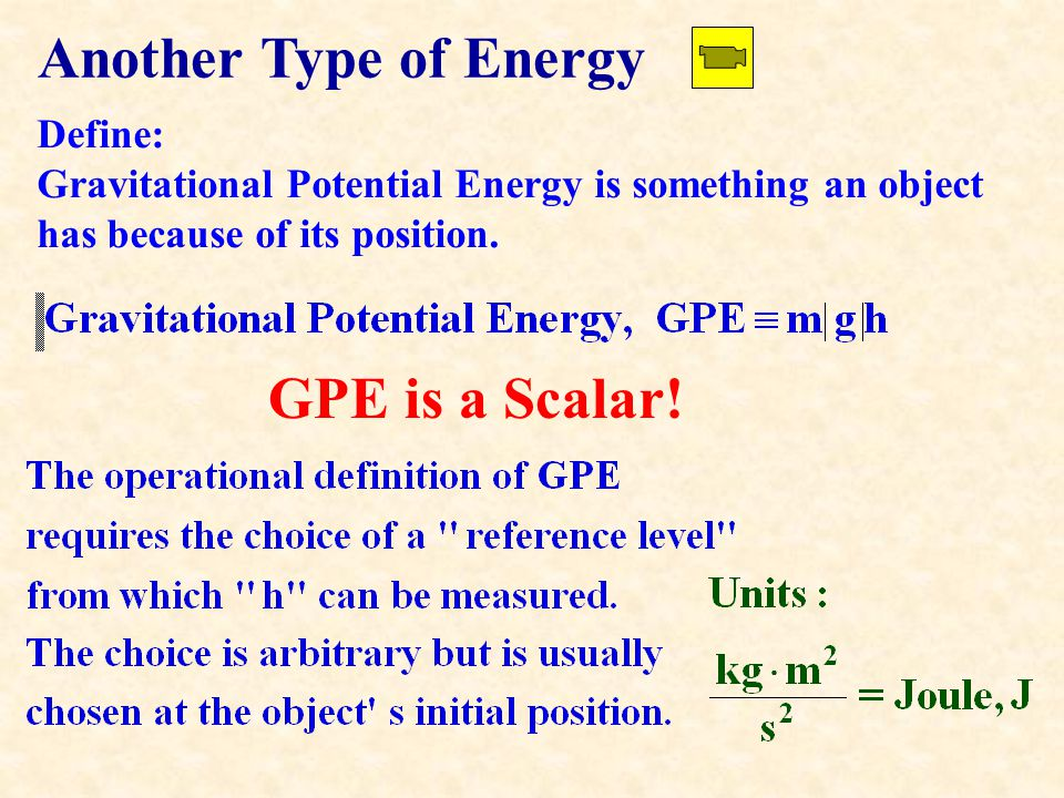 Another Type of Energy Define: Gravitational Potential Energy is something an object has because of its position.
