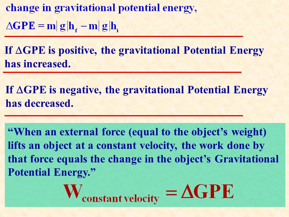 When an external force (equal to the object's weight) lifts an object at a constant velocity, the work done by that force equals the change in the object's Gravitational Potential Energy. If  GPE is positive, the gravitational Potential Energy has increased.