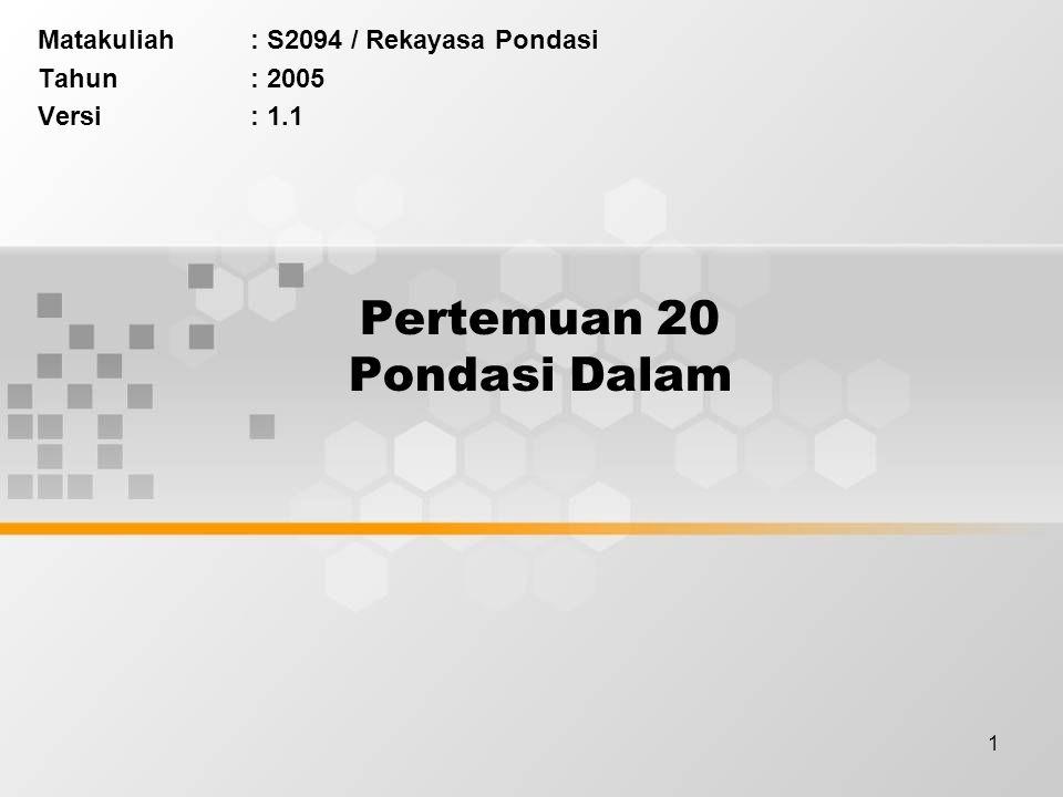1 Pertemuan 20 Pondasi Dalam Matakuliah: S2094 / Rekayasa Pondasi Tahun: 2005 Versi: 1.1