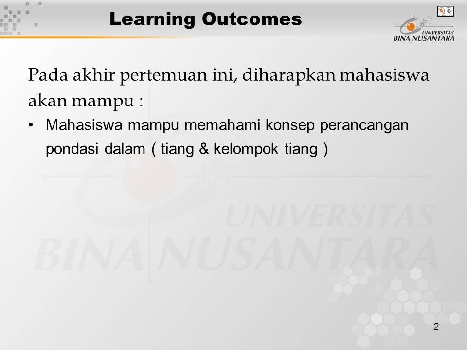 2 Learning Outcomes Pada akhir pertemuan ini, diharapkan mahasiswa akan mampu : Mahasiswa mampu memahami konsep perancangan pondasi dalam ( tiang & kelompok tiang )