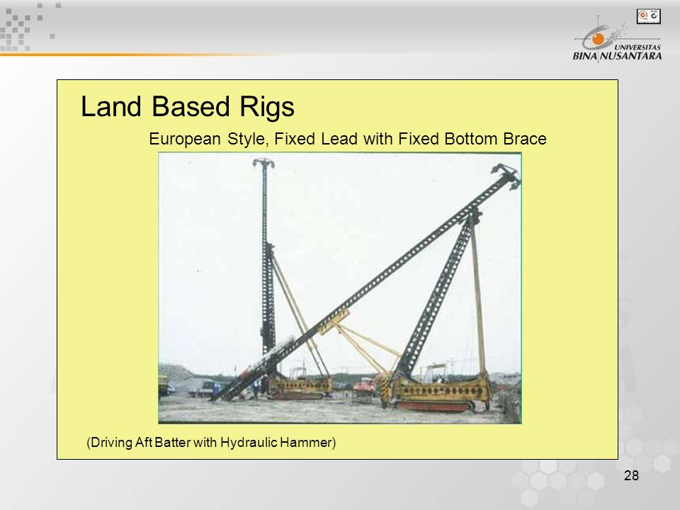 28 Land Based Rigs European Style, Fixed Lead with Fixed Bottom Brace (Driving Aft Batter with Hydraulic Hammer)