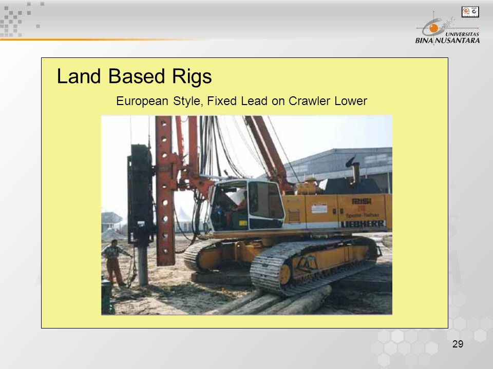 29 Land Based Rigs European Style, Fixed Lead on Crawler Lower