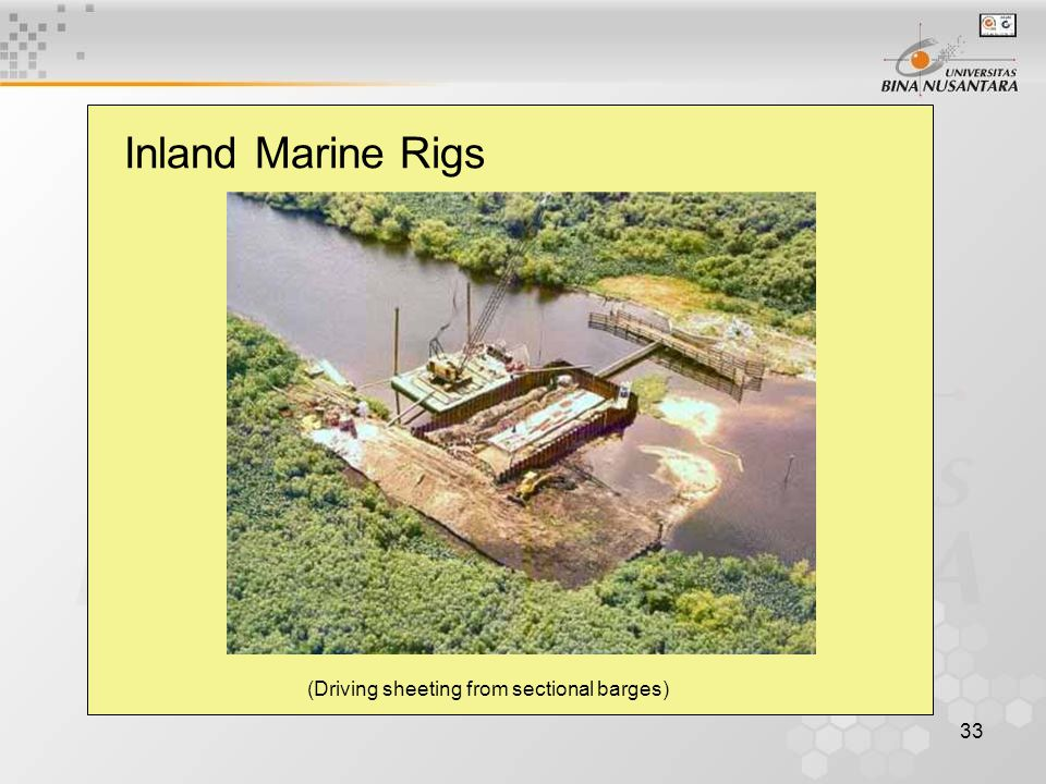 33 Inland Marine Rigs (Driving sheeting from sectional barges)