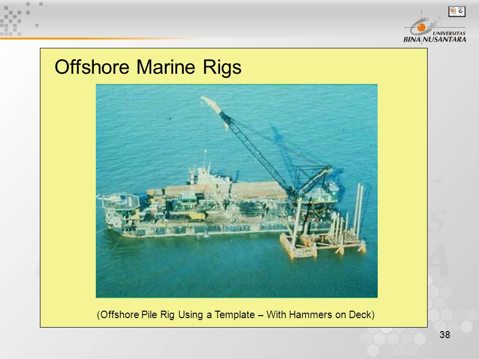38 Offshore Marine Rigs (Offshore Pile Rig Using a Template – With Hammers on Deck)