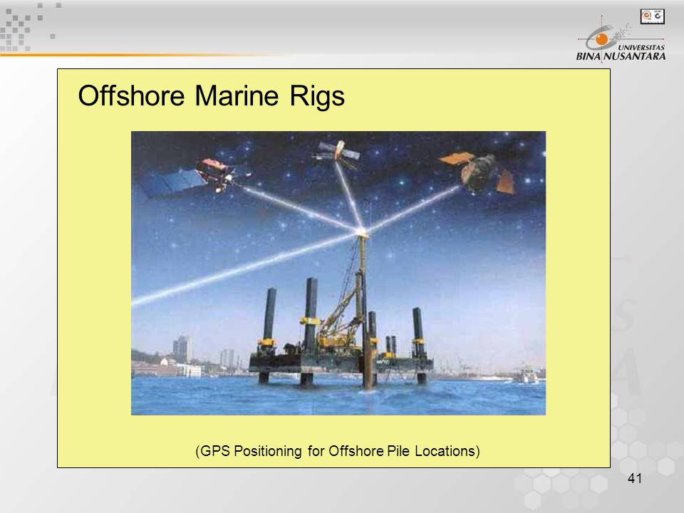 41 Offshore Marine Rigs (GPS Positioning for Offshore Pile Locations)