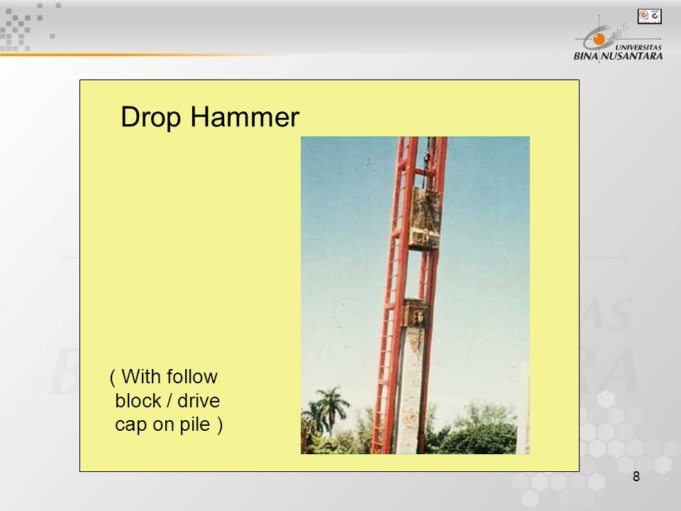 8 Drop Hammer ( With follow block / drive cap on pile )