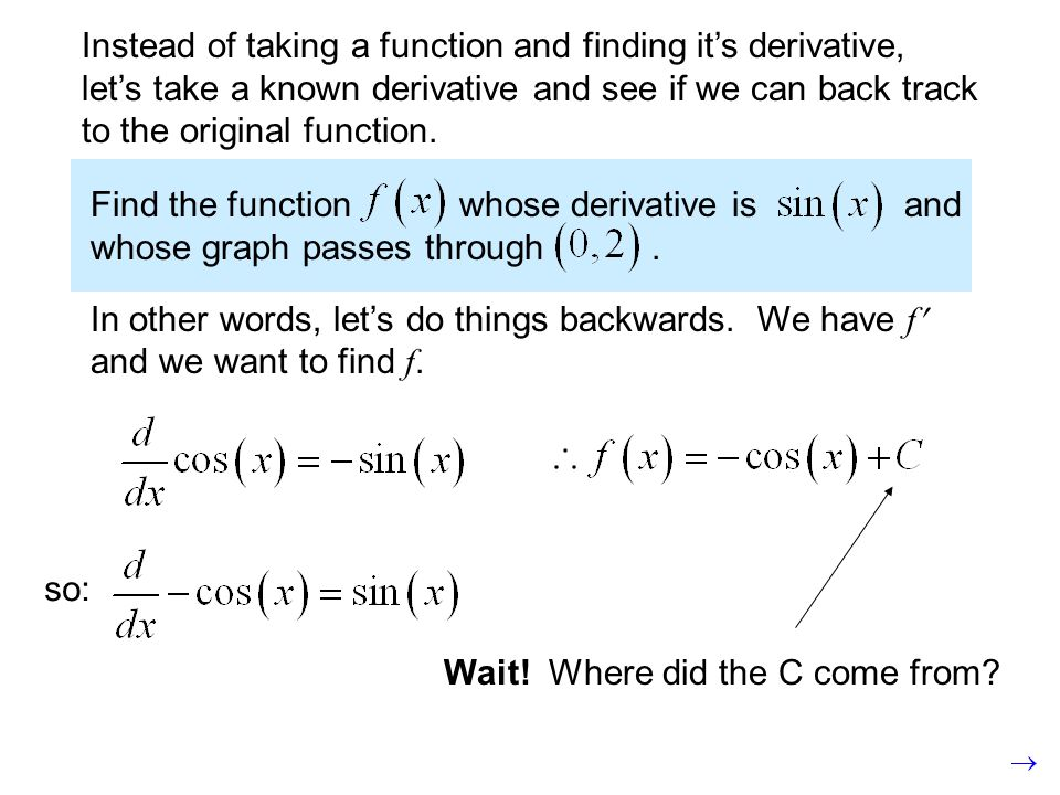 so: Instead of taking a function and finding it's derivative, let's take a known derivative and see if we can back track to the original function.