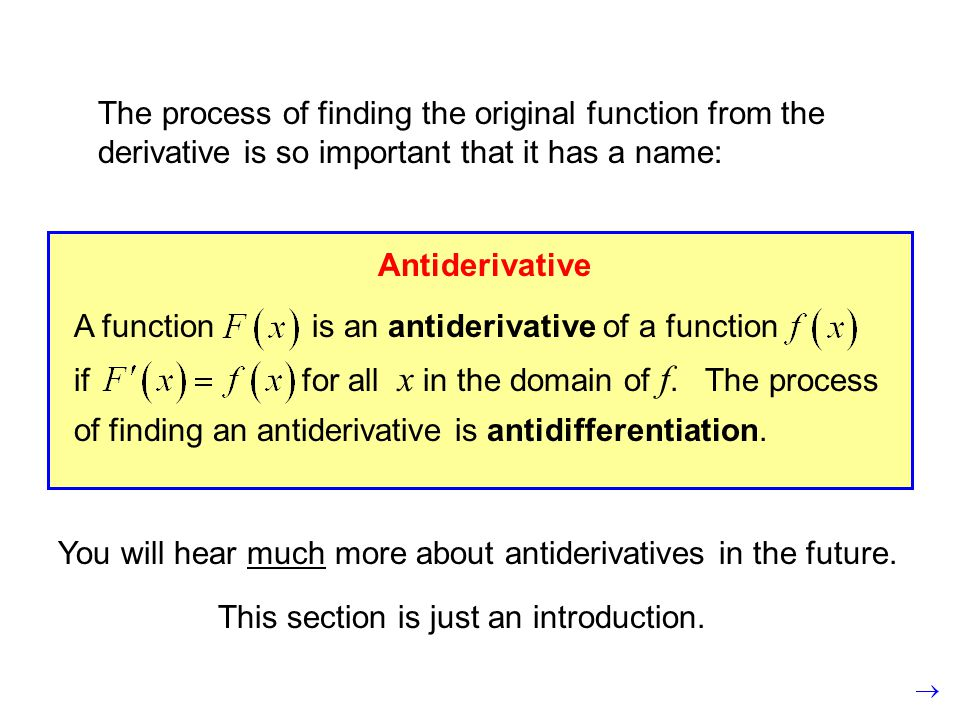 The process of finding the original function from the derivative is so important that it has a name: Antiderivative A function is an antiderivative of a function if for all x in the domain of f.