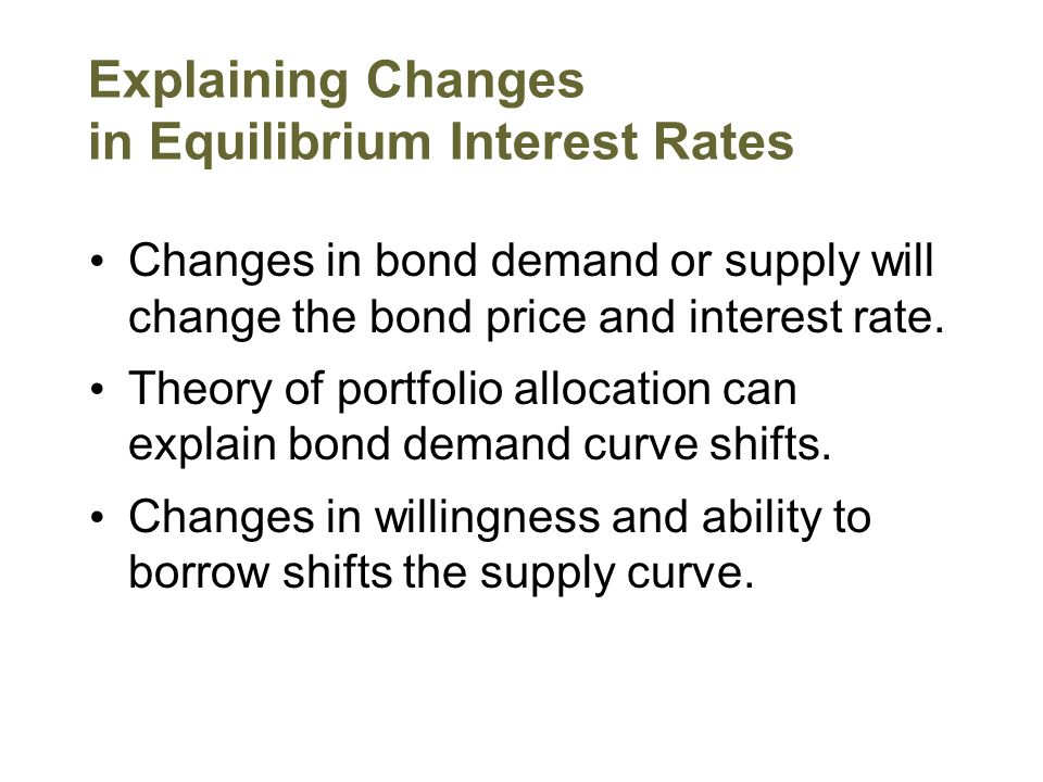 Explaining Changes in Equilibrium Interest Rates Changes in bond demand or supply will change the bond price and interest rate. Theory of portfolio al