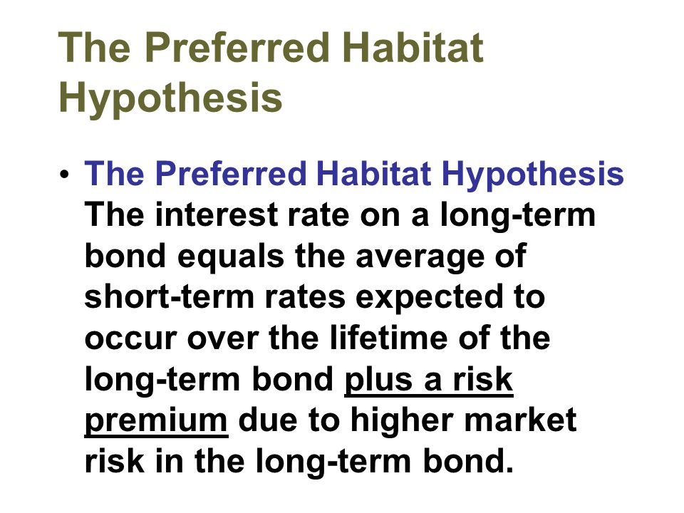 The Preferred Habitat Hypothesis The Preferred Habitat Hypothesis The interest rate on a long-term bond equals the average of short-term rates expecte