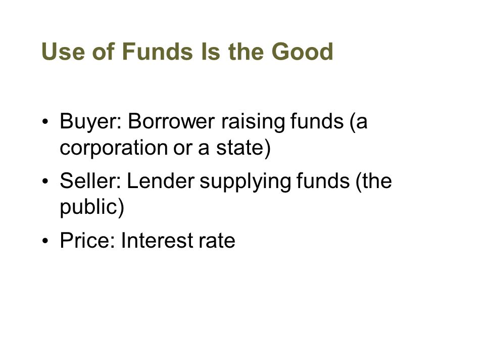 Use of Funds Is the Good Buyer: Borrower raising funds (a corporation or a state) Seller: Lender supplying funds (the public) Price: Interest rate