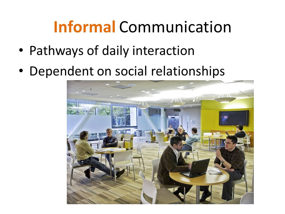 Informal Communication Pathways of daily interaction Dependent on social relationships
