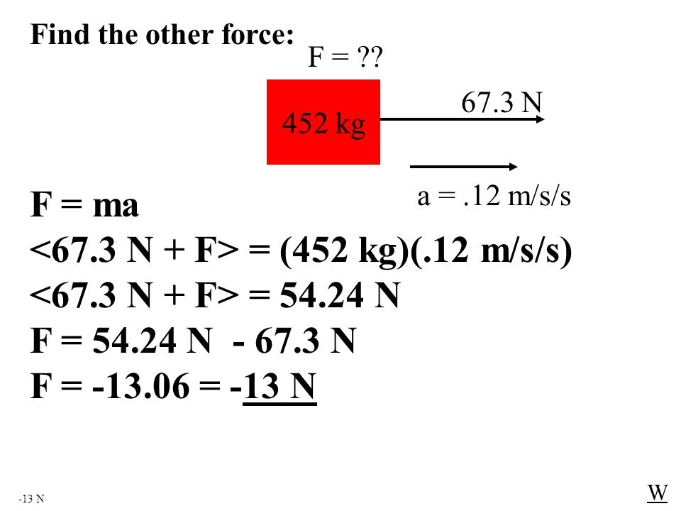-13 N W 452 kg 67.3 N F = ?? F = ma = (452 kg)(.12 m/s/s) = 54.24 N F = 54.24 N - 67.3 N F = -13.06 = -13 N Find the other force: a =.12 m/s/s