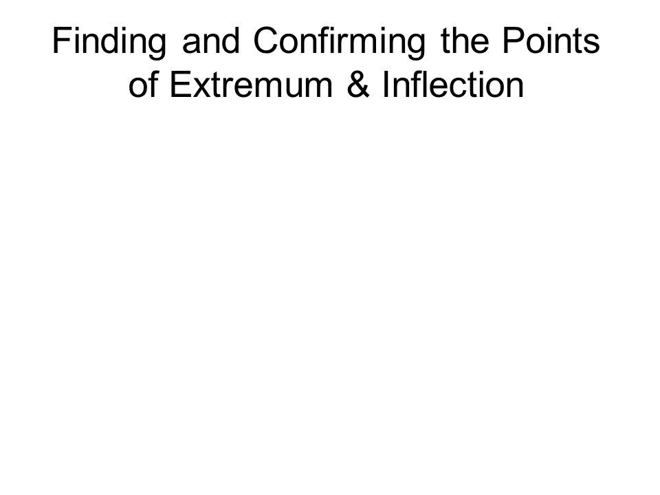 Finding and Confirming the Points of Extremum & Inflection