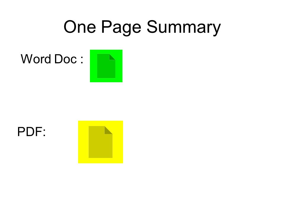 One Page Summary Word Doc : PDF: