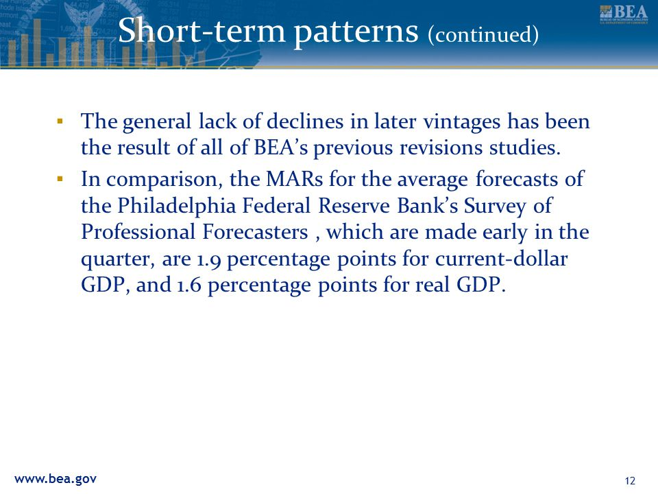 www.bea.gov Short-term patterns (continued) ▪ The general lack of declines in later vintages has been the result of all of BEA's previous revisions studies.