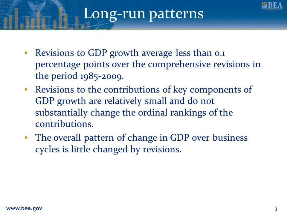 www.bea.gov Long-run patterns ▪ Revisions to GDP growth average less than 0.1 percentage points over the comprehensive revisions in the period 1985-2009.