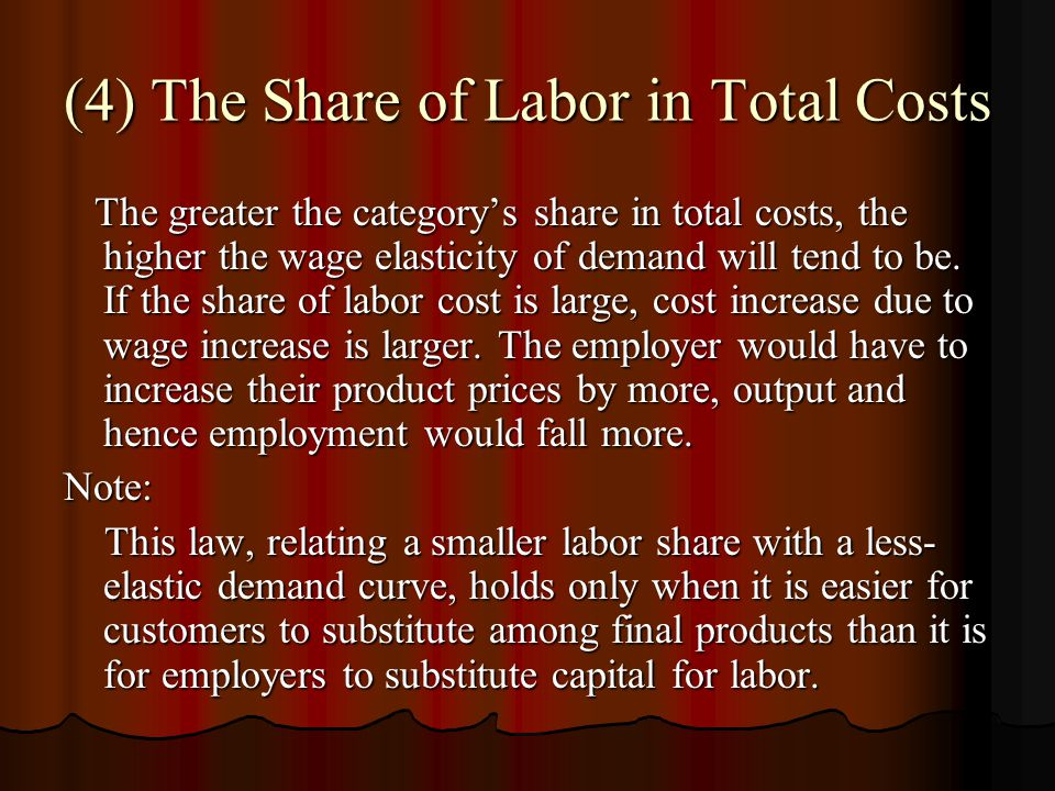 (4) The Share of Labor in Total Costs The greater the category's share in total costs, the higher the wage elasticity of demand will tend to be.