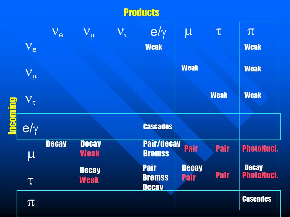 e e      e/     Weak Incoming Products Weak Cascades Decay Weak Pair/decay Bremss Pair PhotoNucl.