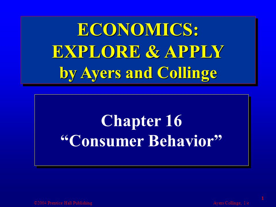 ©2004 Prentice Hall Publishing Ayers/Collinge, 1/e 2 Learning Objectives 1.Discuss how the income effect and substitution effect lead to a downward sloping demand curve.