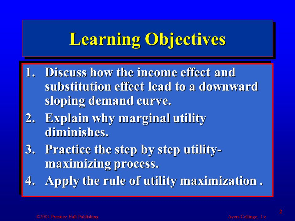 ©2004 Prentice Hall Publishing Ayers/Collinge, 1/e 3 Learning Objectives 5.Relate utility maximization to the demand curve.