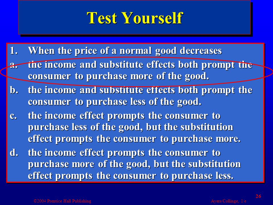 ©2004 Prentice Hall Publishing Ayers/Collinge, 1/e 26 Test Yourself 1.When the price of a normal good decreases a.the income and substitute effects both prompt the consumer to purchase more of the good.