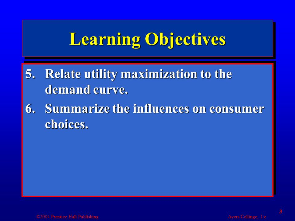 ©2004 Prentice Hall Publishing Ayers/Collinge, 1/e 24 Addictive Behavior: Utility in Hindsight Utility Disutility Marginal utility perceived at the time Marginal utility perceived later Quantity of binge purchases Point where all money has been spent
