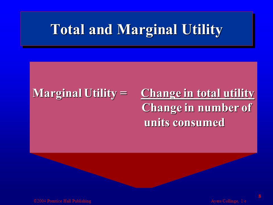 ©2004 Prentice Hall Publishing Ayers/Collinge, 1/e 19 Utility Maximization and Demand