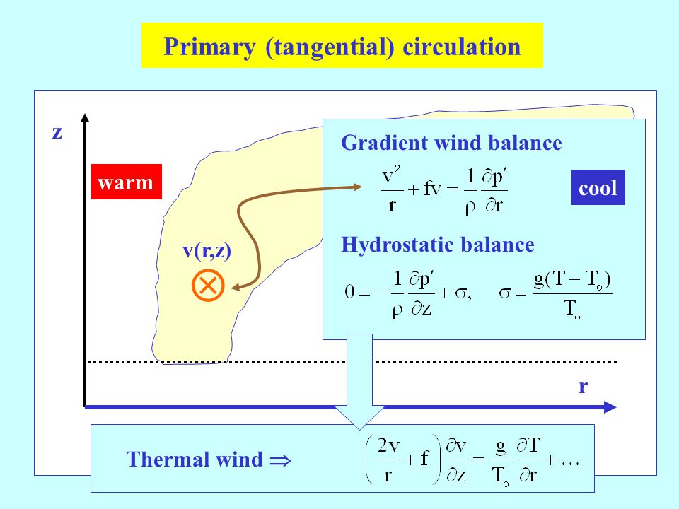 Primary (tangential) circulation  warm v(r,z) Gradient wind balance Hydrostatic balance Thermal wind  z r cool