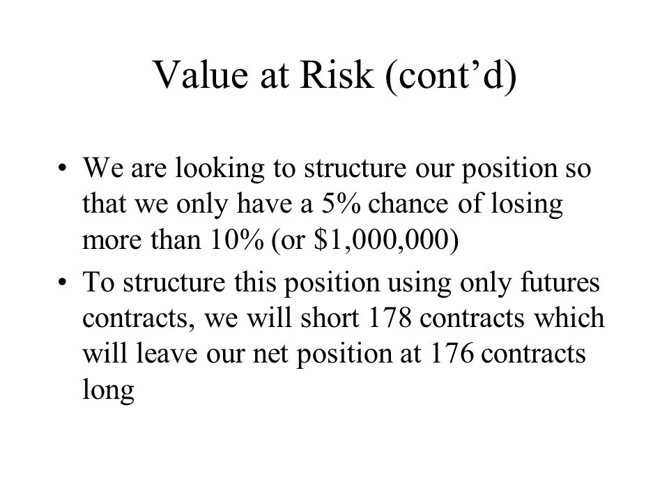 Value at Risk (cont'd) We are looking to structure our position so that we only have a 5% chance of losing more than 10% (or $1,000,000) To structure this position using only futures contracts, we will short 178 contracts which will leave our net position at 176 contracts long