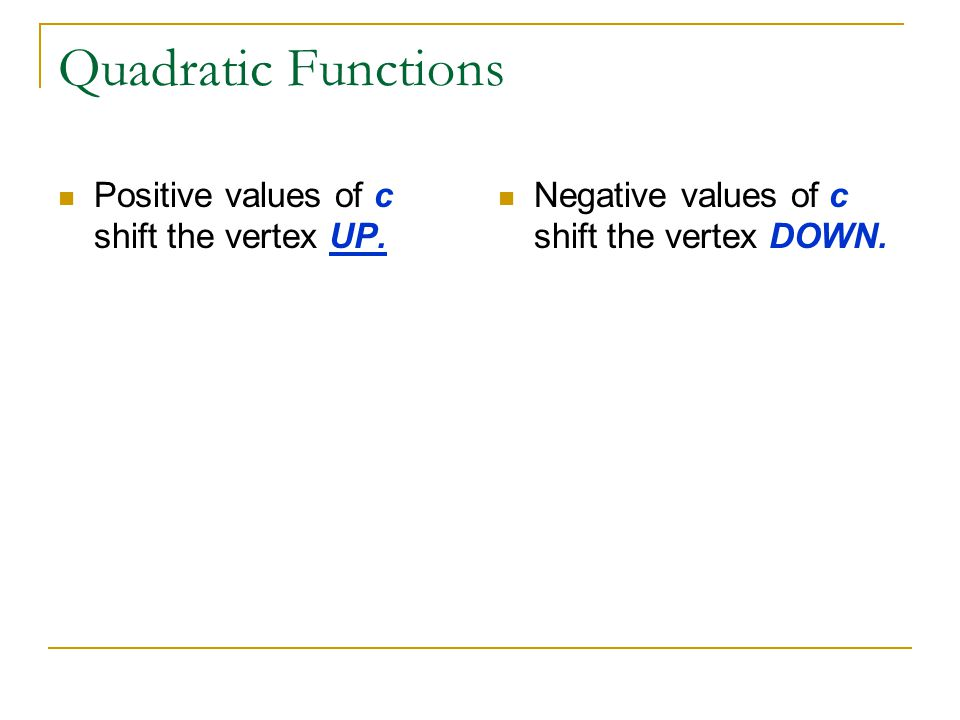 Quadratic Functions Positive values of c shift the vertex UP. Negative values of c shift the vertex DOWN.
