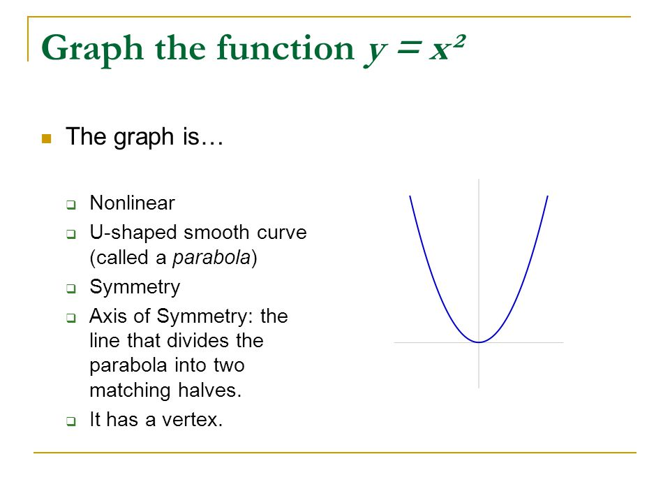 Graph the function y = x² The graph is…  Nonlinear  U-shaped smooth curve (called a parabola)  Symmetry  Axis of Symmetry: the line that divides t