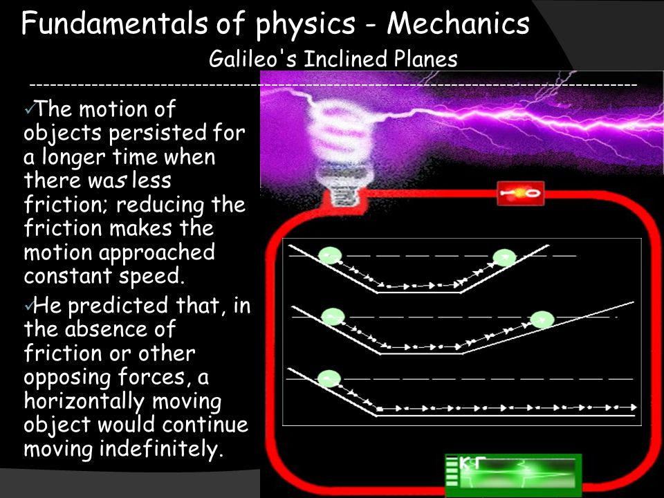 Fundamentals of physics - Mechanics Galileo's Inclined Planes ----------------------------------------------------------------------------------------