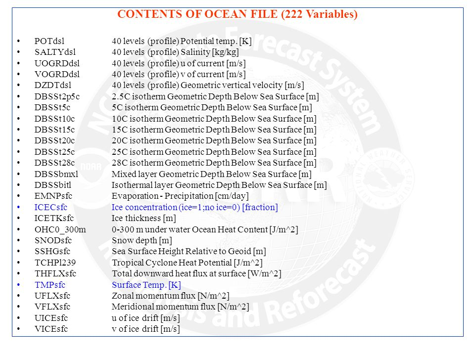 CONTENTS OF OCEAN FILE (222 Variables) POTdsl40 levels (profile) Potential temp.