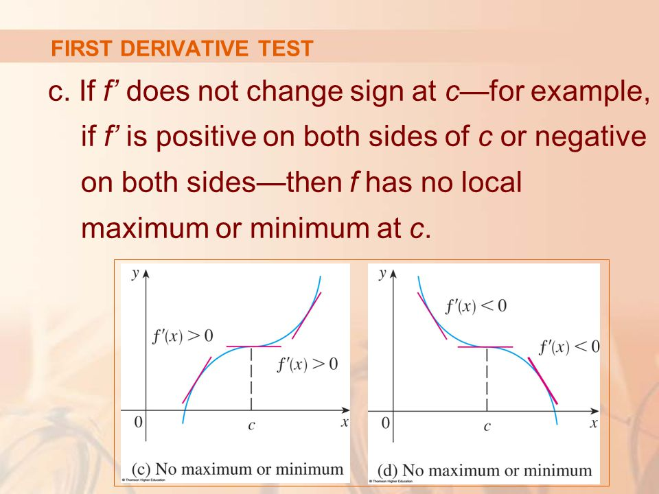 FIRST DERIVATIVE TEST c. If f' does not change sign at c—for example, if f' is positive on both sides of c or negative on both sides—then f has no loc