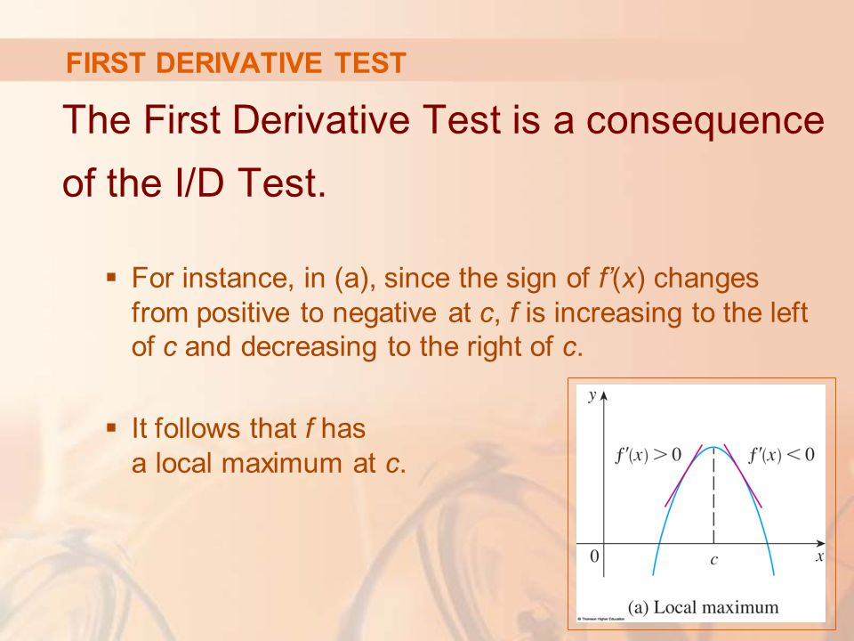 FIRST DERIVATIVE TEST The First Derivative Test is a consequence of the I/D Test.  For instance, in (a), since the sign of f'(x) changes from positiv