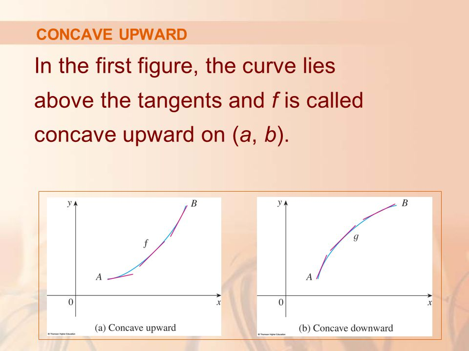 In the first figure, the curve lies above the tangents and f is called concave upward on (a, b). CONCAVE UPWARD